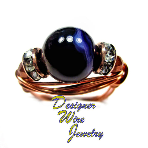 Purple Stripe Agate Stunning Solitaire Artisan Copper Wire Wrap Ring All Sizes