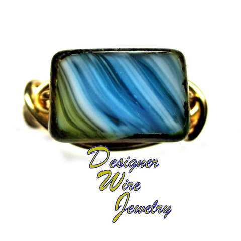 Gorgeous Czech Glass Desert Mirage Artisan Gold Tone Wire Wrap Ring All Sizes