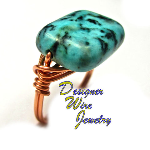 Gorgeous African Turquoise Solitaire Artisan Copper Wire Wrapped Ring All Sizes