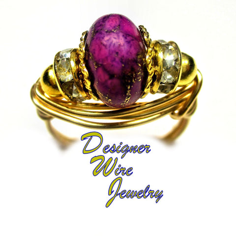 Bronze Infused Purple Turquoise Artisan Gold Tone Wire Wrap Ring All Sizes