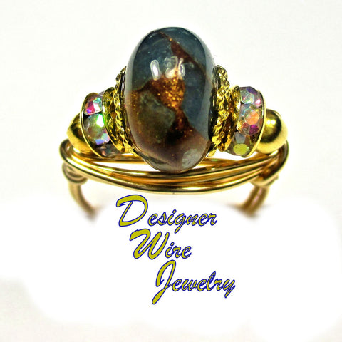 Aquamarine Quartz-Pyrite Veins Artisan Gold Tone Wire Wrap Ring All Sizes