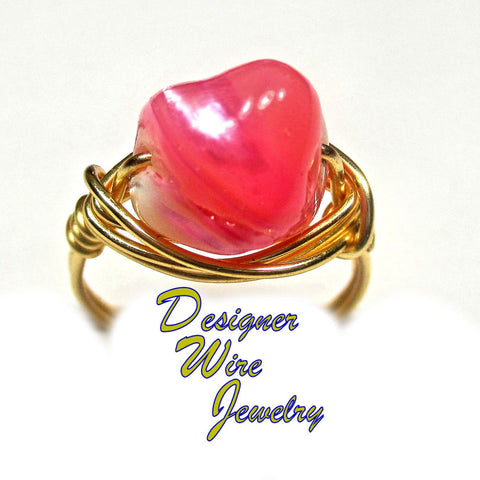 Fab  Pink South Sea Pearl Nugget Artisan Gold Tone Wire Wrap Ring All Sizes
