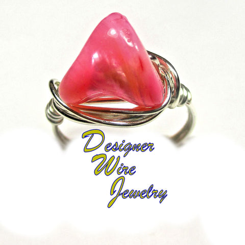 Chic Pink South Sea Pearl Nugget Artisan Silver Plate Wire Wrap Ring All Sizes