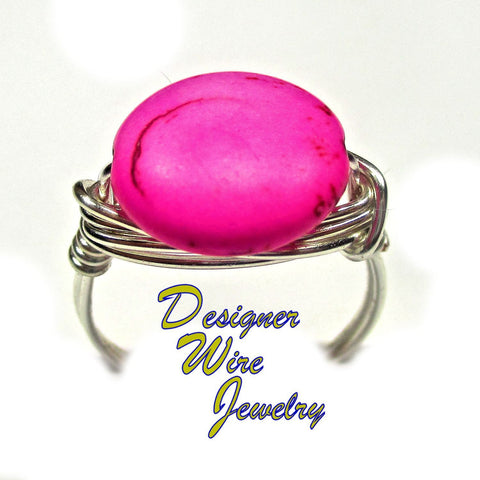 Stunning Peachblow Turquoise Coin Artisan Silver Plate Wire Wrap Ring All Sizes
