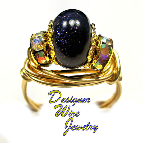 Blue Sandstone Gemstone Solitaire Artisan Gold Tone Wire Wrap Ring All Sizes