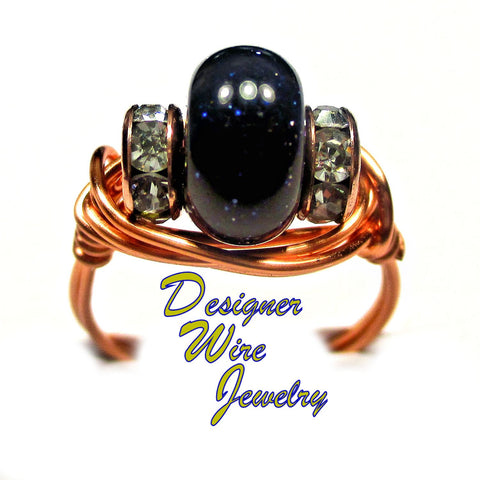 Gorgeous Blue Sandstone Solitaire Artisan Copper Wire Wrap Ring All Sizes