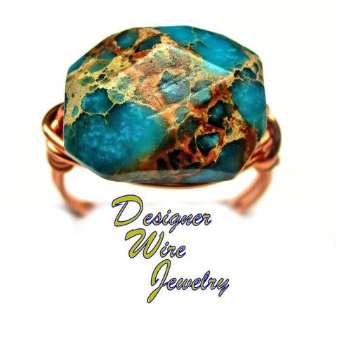 Gorgeous Turquoise Sea Sediment Artisan Copper Wire Wrapped Ring All Sizes
