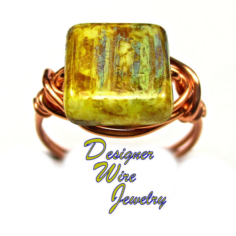 Sea Foam Picasso Czech Glass Artisan Copper Wire Wrapped Ring All Sizes