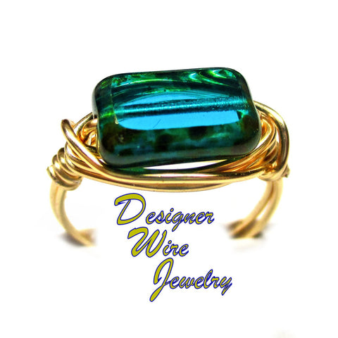 Beautiful Czech Glass Teal Picasso Artisan Gold Tone Wire Wrap Ring All Sizes