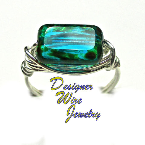 Classic Czech Glass Teal Picasso Artisan Silver Plate Wire Wrap Ring All Sizes