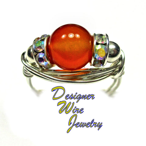 Breathtaking Carnelian Solitaire Artisan Silver Plate Wire Wrap Ring All Sizes