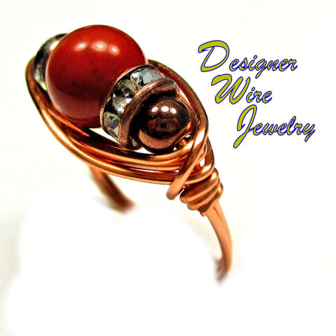 Natural Picasso Jasper Gemstone Artisan Copper Wire Wrapped Ring All Sizes