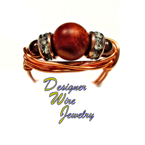 Fabulous Natural Picasso Jasper Artisan Copper Wire Wrap Ring All Sizes