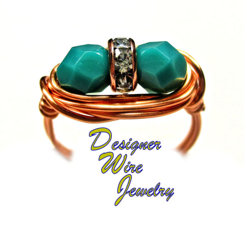 Stunning Czech Glass Persian Turquoise Duet Artisan Wire Wrap Ring All Sizes