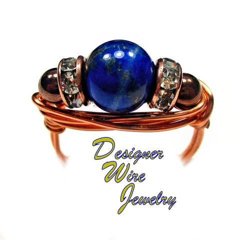 Chic Vibrant Blue Lapis Gemstone Artisan Copper Wire Wrapped Ring All Sizes