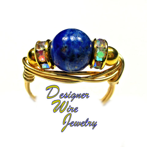 Celestial Blue Lapis Lazuli Solitaire Artisan Gold Tone Wire Wrap Ring All Sizes