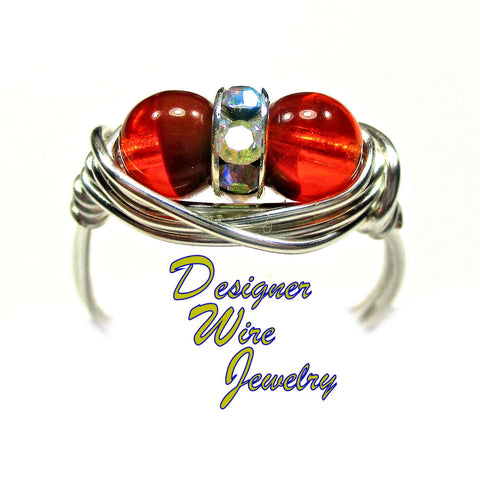 Caramel Orange Czech Art Glass Deux Artisan Silver Plate Wire Wrap Ring All Sizes