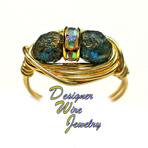 Copper Capri Picasso Czech Glass Deux Artisan Gold Tone Wire Wrap Ring All Sizes