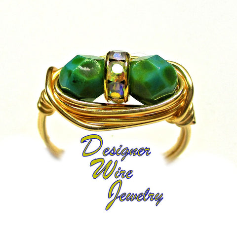 Czech Art Glass Green Turquoise Duet Artisan Gold Tone Wire Wrap Ring All Sizes