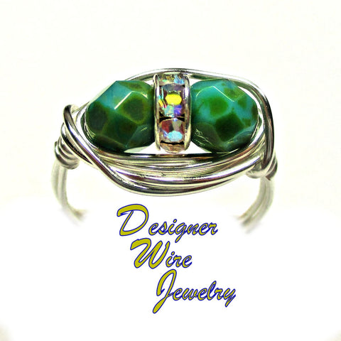 Czech Art Glass Green Turquoise Duex Artisan Silver Plate Wire Wrap Ring All Sizes