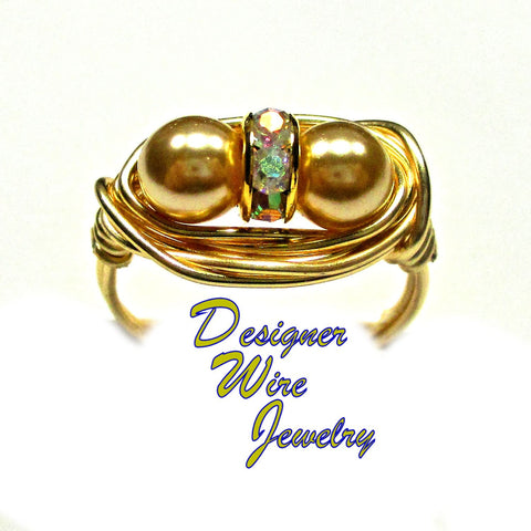 Czech Art Glass Gold Pearl Duex Artisan Gold Tone Wire Wrap Ring All Sizes