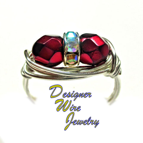 Czech Art Glass Carmen Red Duex Artisan Silver Plate Wire Wrap Ring All Sizes