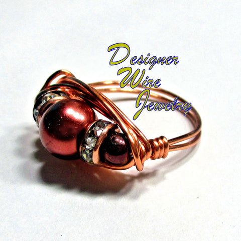 Fabulous Copper Glass Pearl Artisan Copper Wire Wrapped Ring All Sizes