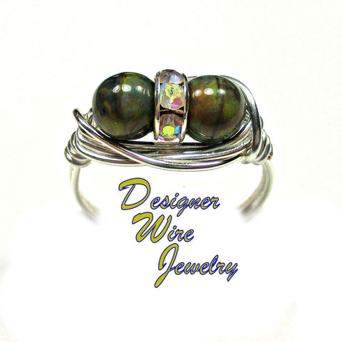 Czech Glass Olive Picasso Duex Artisan Silver Plate Wire Wrap Ring All Sizes