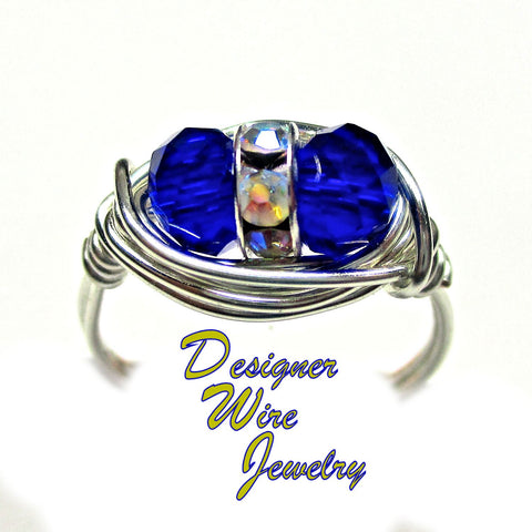 Czech Glass Sapphire Blue Duex Artisan Silver Plate Wire Wrap Ring All Sizes