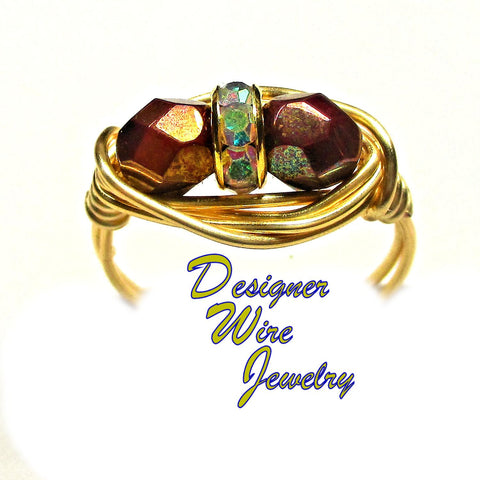 Faceted Bronze Luster Czech Art Glass Artisan Gold Tone Wire Wrap Ring All Sizes