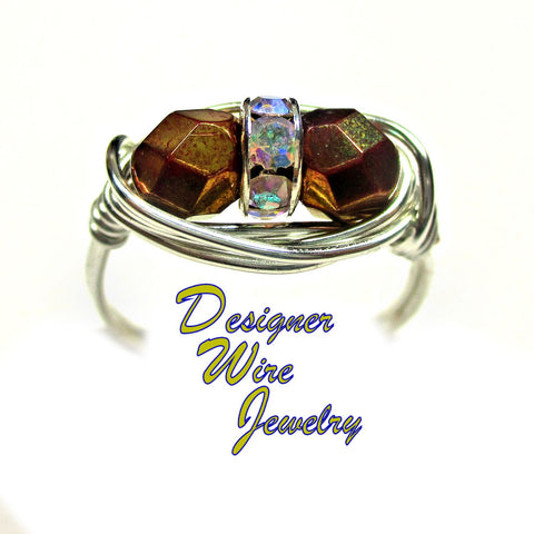 Bronze Luster Czech Art Glass Duet Artisan Silver Plate Wire Wrap Ring All Sizes