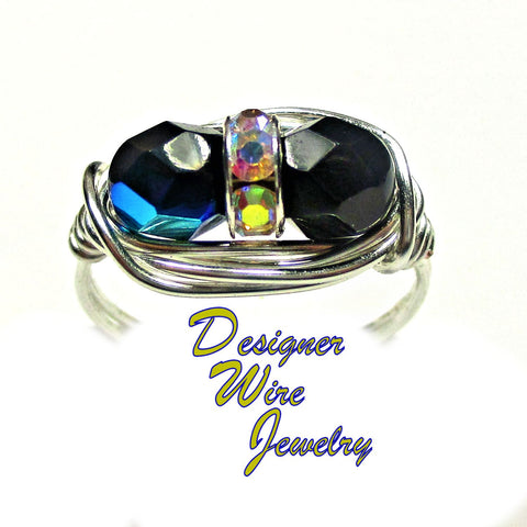 Chic Ebony AB Czech Art Glass Deux Artisan Silver Plate Wire Wrap Ring All Sizes