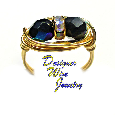 Chic Czech Art Glass Jet Black AB Duet Artisan Gold Tone Wire Wrap Ring All Sizes