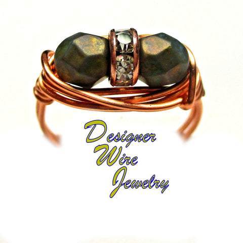Czech Art Glass Turquoise Copper Duet Artisan Copper Wire Wrap Ring All Sizes