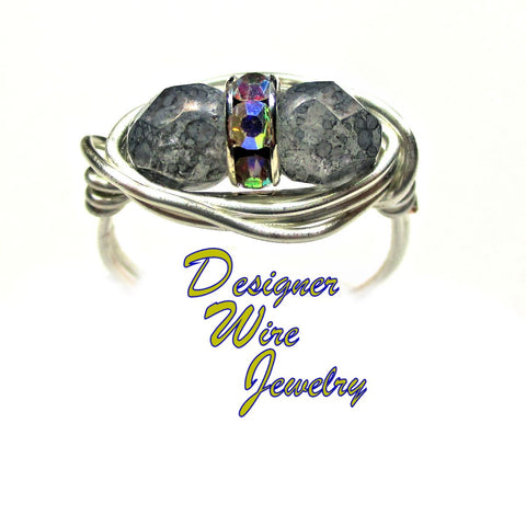 Czech Art Glass Gray Luster Duet Artisan Silver Plate Wire Wrap Ring All Sizes