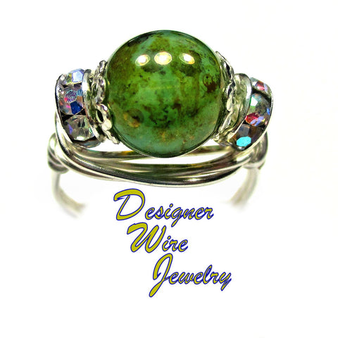 Beautiful Oceanic Czech Art Glass Artisan Silver Plate Wire Wrap Ring All Sizes