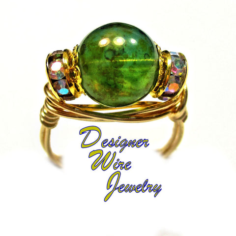 Lovely Oceanic Czech Art Glass Artisan Gold Tone Wire Wrap Ring All Sizes