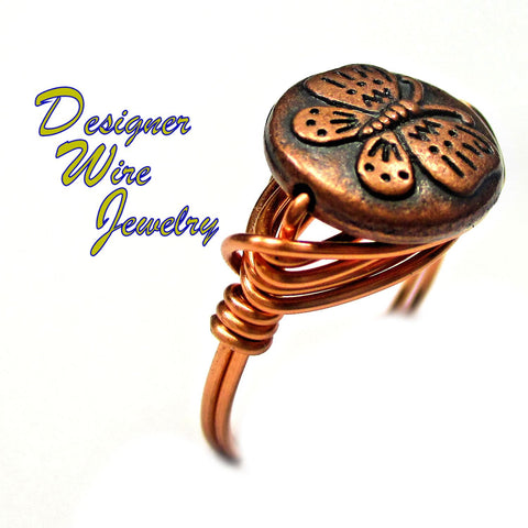 Lovely Copper Butterfly Artisan Copper Wire Wrap Ring All Sizes