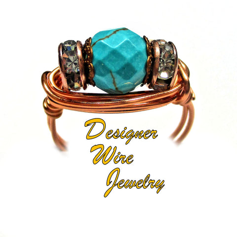 Stunning Southwestern Turquoise Artisan Copper Wire Wrap Ring All Sizes