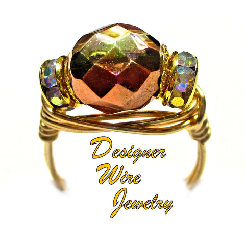 Capri Gold Sunset Czech Art Glass Artisan Gold Tone Wire Wrap Ring All Sizes
