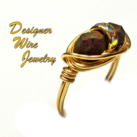 Burnished Brick Red Czech Glass Deux Artisan Gold Tone Wire Wrap Ring All Sizes