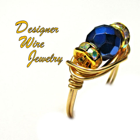 Chic Carmen Blue Czech Art Glass Artisan Gold Tone Wire Wrap Ring All Sizes