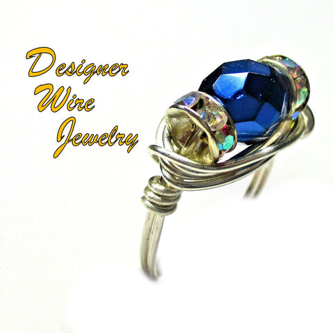 Chic Carmen Blue Czech Art Glass Artisan Silver Plate Wire Wrap Ring All Sizes