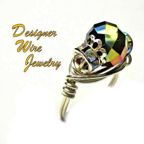 Chic Faceted Metallic Peacock Crystal Artisan Silver Plate Wire Wrap Ring All Sizes