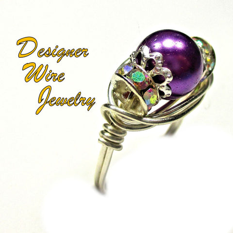 Purple Dreams Art Glass Pearl Solitaire Artisan Silver Plate Wire Wrap Ring All Sizes
