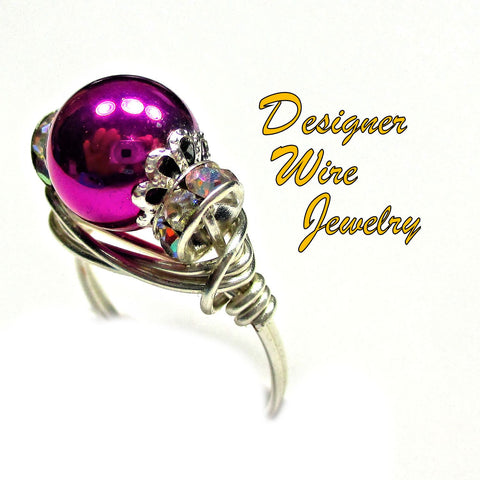 Metallic Plum Art Glass Pearl Solitaire Artisan Silver Plate Wire Wrap Ring All Sizes