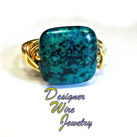 Chic Blue Chrysocolla Gemstone Artisan Gold Tone Wire Wrap Ring All Sizes