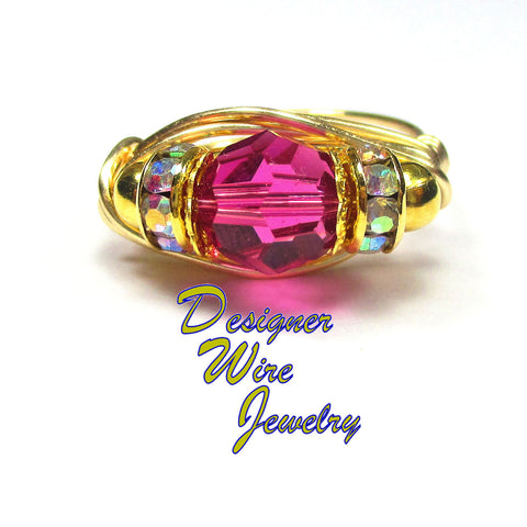 Stunning Swarovski Crystal Fuchsia Artisan Gold Tone Wire Wrap Ring All Sizes