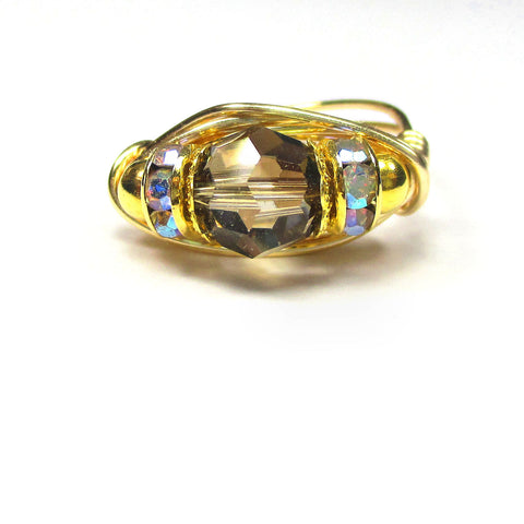 Swarovski Crystal Iridescent Green Smoke Artisan Gold Tone Wire Wrap Ring All Sizes