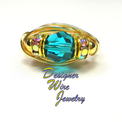 Swarovski Crystal Faceted Zircon Blue Artisan Gold Tone Wire Wrap Ring All Sizes